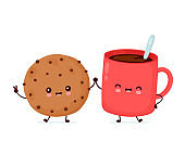 Cute happy funny chocolate cookie and coffee cup