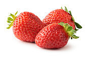 Three ripe strawberry fruits isolated on white background. Clipping path