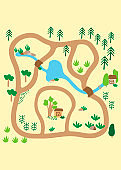 Country landscape with trees, river, bridges and lake. Little house. Play Mat, Board game, poster for children's room. Hand-drawn vector illustration for decoration