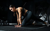 Muscular women training at the gym