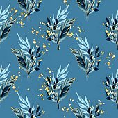 Seamless pattern with blue leaves and golden splashes
