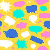 Speech bubble seamless pattern in linocut style