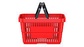 Side view of a Red empty customer plastic shopping basket. 3d rendering illustration isolated on white background.