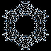 Round decorative pattern. Silver jewelry element with gems