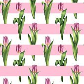 Seamless stried pattern with pink tulips