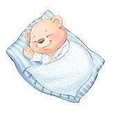 Illustration of cute Teddy Bear sleeps on pillow.