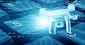 Modern drone under technology background