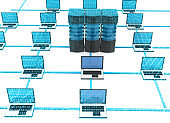 Computer networking. Servers with laptop