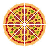 Cut Pepperoni pizza vector flat isolated