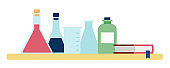 Laboratory chemical instruments vector illustration in flat style.