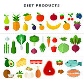 Set of various dietary food, isolated on white background. Vector illustration in flat style.