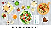 Vector illustration vegetarian useful food on wooden groundwork in flat design.
