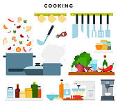 Set of illustrations, showing the cooking process. Ingredients and kitchen utensils. Vector illustration.