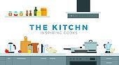 Kitchen modern interior vector illustration in flat style.