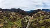 Small village along a road in a mountain gorge, Carpathian Mountains in Ukraine
