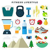 Equipment and products for fitness and healthy lifestyle, set. Sport gear and diet food. Vector illustration.