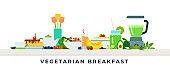 Vegetarian breakfast vector illustration in flat design.