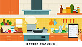 Recipes cooking food online. Vector flat illustrations. Home cooking concepts, search for recipes.