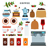Collection of vector icons on coffee theme. All stages on the way from growing coffee berries to making a drink. Equipment and tools. Vector illustration.