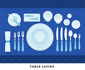 Table laying. Vector flat illustrations. Served table in restaurant on formal dinner.