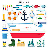 Everything for fishing, set of elements isolated on white. Vector flat illustration.