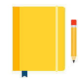 Yellow diary on rubber band vector icon flat isolated