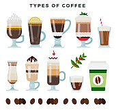 Different types of coffee. Various coffee drinks, set, isolated on white background. Vector illustration.