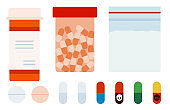 Medicament poison different shapes set vector icons in flat design.