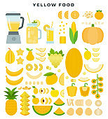 Yellow vegetables, fruits and juices, flat icon set. Vector illustration.