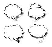 Clouds speech bubbles flat icon vector isolated