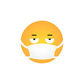 Displeased emoticon with medical mask
