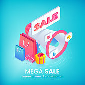 Mega Sale isometric advertising banner concept with 3d bullhorn, promotion sale sticker, shopping bags, gift, social media icons on blue. Flat vector illustration for web, mobile app, infographics