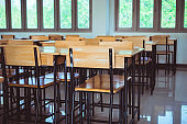 School closed education in Covid-19 disease outbreak concept : Lecture school empty classroom with desks chair iron wood when student close stay at home in high school thailand, interior secondary