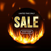 Limited time sale banner with realistic fire flames, button shop now. Burning light effect black friday design template, price tag, web, shopping, discount, social media promo. Vector Illustration