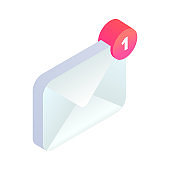 New incoming message isometric icon, 3d Email Mobile notification. New e-mail sign. Social network, sms chat, spam, new mail vector symbol for website, landing design, app, advert