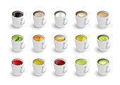 Realistic vector 3d cup of hot beverage set. Isometric green, black lemon tea , mint, herbal chamomile tea, Masala tea, rooibos, matcha and coffee assortment cappuccino, latte, espresso, americano