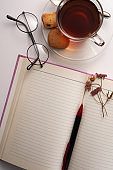 tea and blank note book