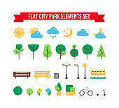 Flat simple park or garden elements vector set. Urban outdoor decor elements collection. Tree, weather sign, bench, bush, bike and street lamps isolated for web icons, mobile app, infographics