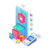 Online secure nfc smartphone payment isometric concept. Safe internet shopping vector illustration with 3d mobile phone, pos terminal, shopping cart, gifts for web banner, mobile app, infographics