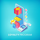 Loyalty program isometric banner concept. 3d vector smartphone with gift box, credit cart, shopping bags and pos terminal. Online store discount service illustration for web, mobile app, advert, site