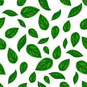 Fresh green leaf seamless pattern