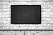 Flat Interior with empty black chalkboard on white brick wall, wooden gray floor. Trendy loft room scenery background, gallery exhibition interior. Vector Illustration for web, mockup, exposition
