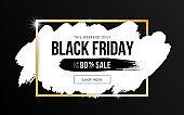 Black friday sale horizontal banner design with white brushstroke and golden frame on black background. Social media template for flyer, poster, shopping, discount, web, promo, ad. Vector illustration