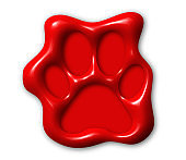 Dog paw, realistic red wax seal