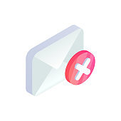 Cancel email, unsubscribe isometric icon, decline mail message sign with red cross x checkmark. 3d Delete e-mail, rejected letter symbol. Social network, sms chat, spam vector illustration