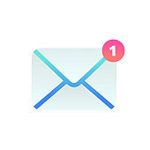 New incoming message flat icon, Email Mobile notification. New e-mail sign. Social network, sms chat, spam, new mail vector symbol for website, landing design, app, advert
