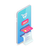 Online store concept. Online shopping Isometric creative design template with smartphone integrated ATM, shopping cart, button bye, credit card, receipt. E-commerce vector illustration