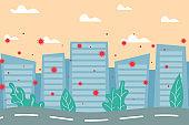 stay home coronavirus concept City Skyline