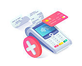 Isometric shopping, error contactless payments via smartphone concept. 3d payment terminal with red cross checkmark. Cashless NFC payment transaction canceled. Vector Flat payments machine