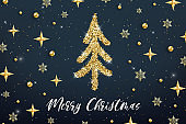 Merry Christmas gold greeting card template. Hand drawn stylized Christmas tree with golden glitter effect on dark blue decorated background. New Year Vector illustration for print design, web banner